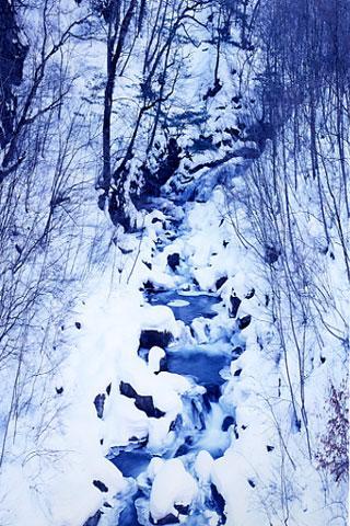 石楠花橋上流の雪化粧